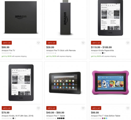 Target's website shows six Amazon products in stock