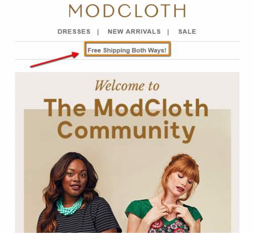 modcloth onboarding email