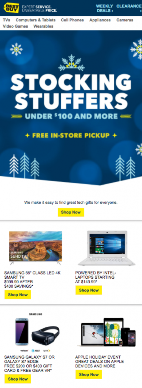 every single day between black friday and christmas each email included a header image with a similar aesthetic and promoted several different products - Best Buy Hours Christmas Day