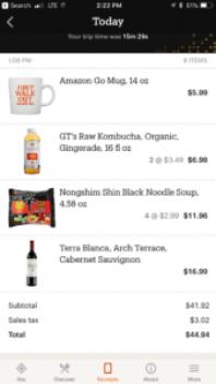 Amazon Go app checkout screen
