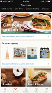 Amazon Go app order home screen