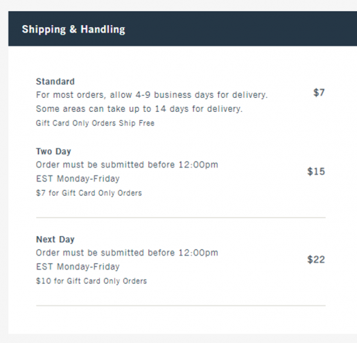 Abercrombie & Fitch shipping table
