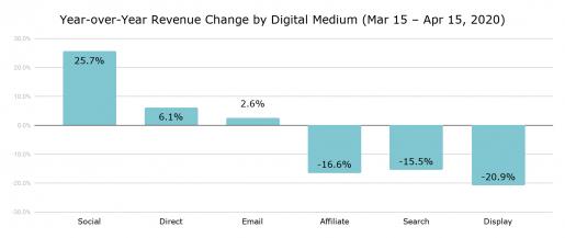YoY revenue change by digital medium