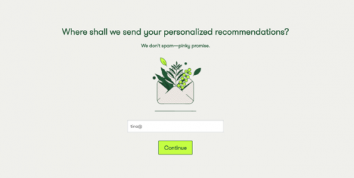 An on-site quiz gives customers this personalized conversation.