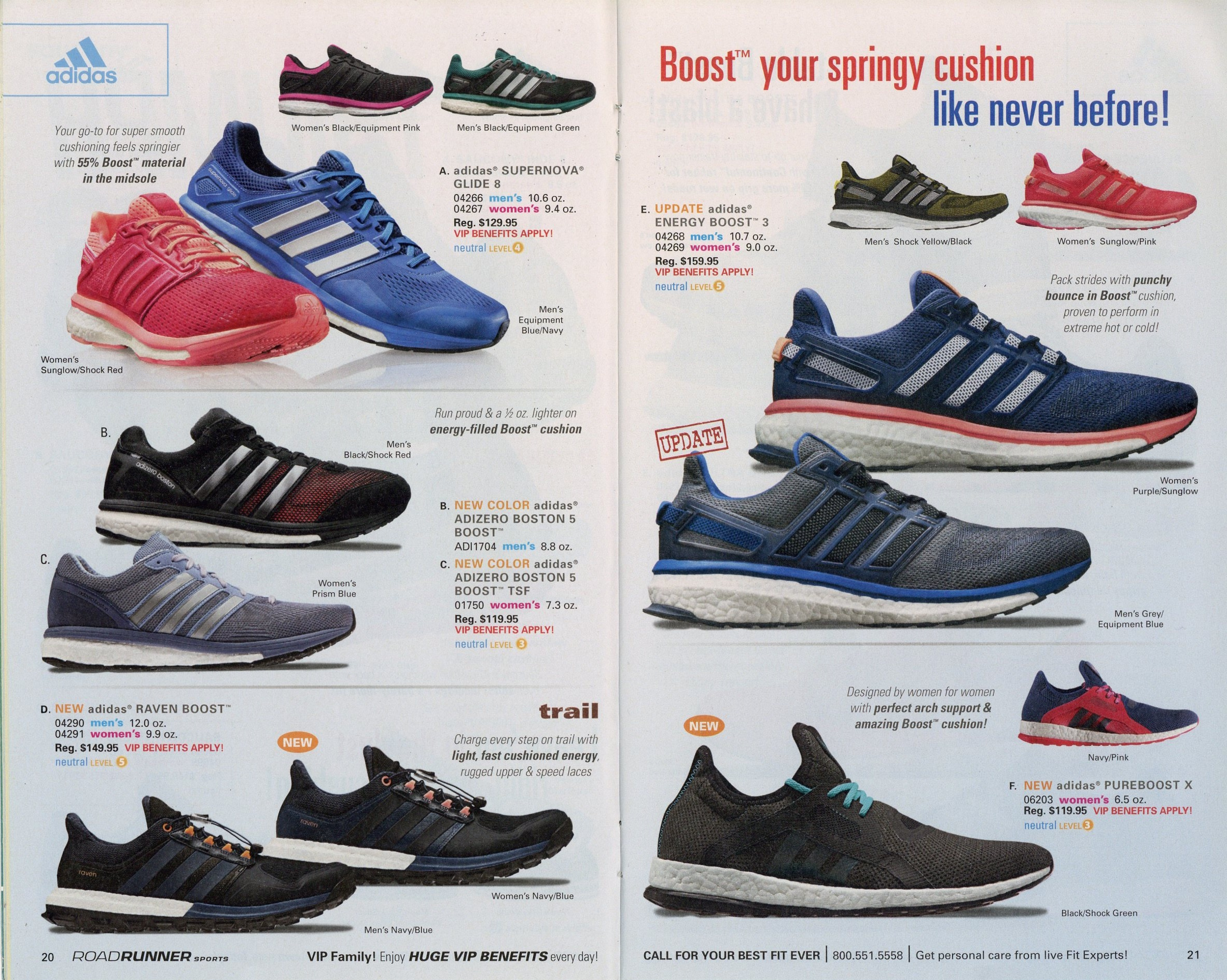 Throughout the catalog, running shoes are organized by brand, then model.